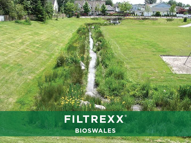 Filtrexx bioswales remove sediment and filter stormwater for Design of stabilization pond